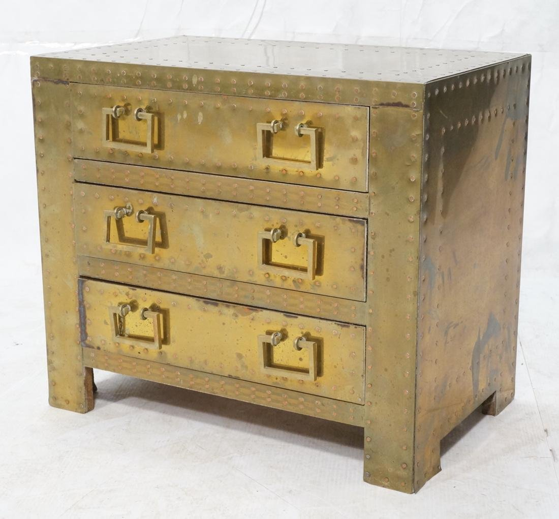 SARREID Style Brass Campaign Chest. 3 drawers wit