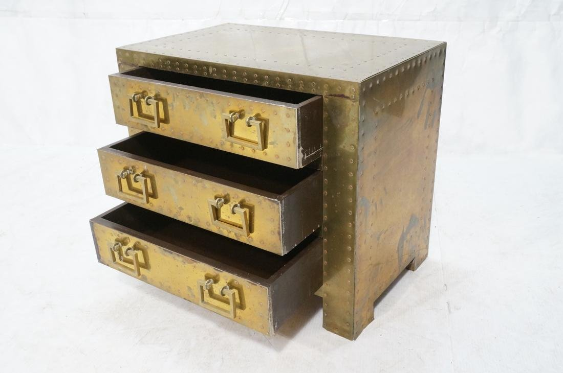 SARREID Style Brass Campaign Chest. 3 drawers wit - 2