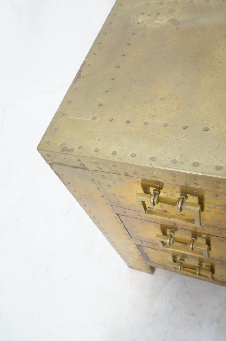 SARREID Style Brass Campaign Chest. 3 drawers wit - 4
