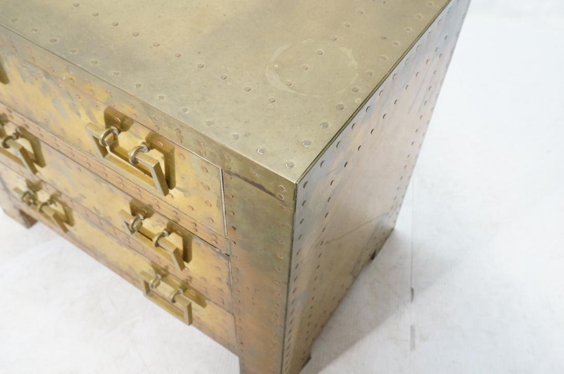 SARREID Style Brass Campaign Chest. 3 drawers wit - 5