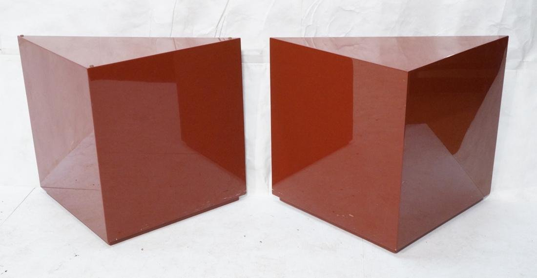 Pr Burgundy Lacquered Triangular Side End Tables