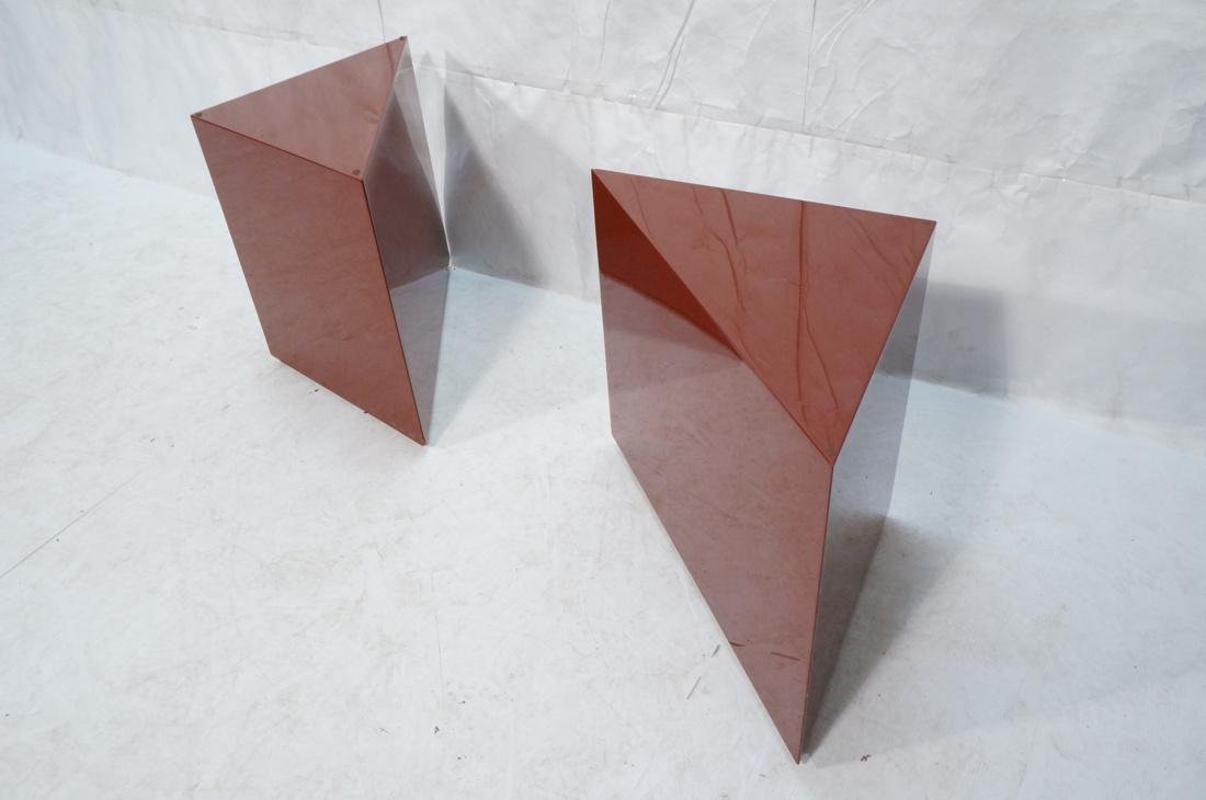 Pr Burgundy Lacquered Triangular Side End Tables - 8