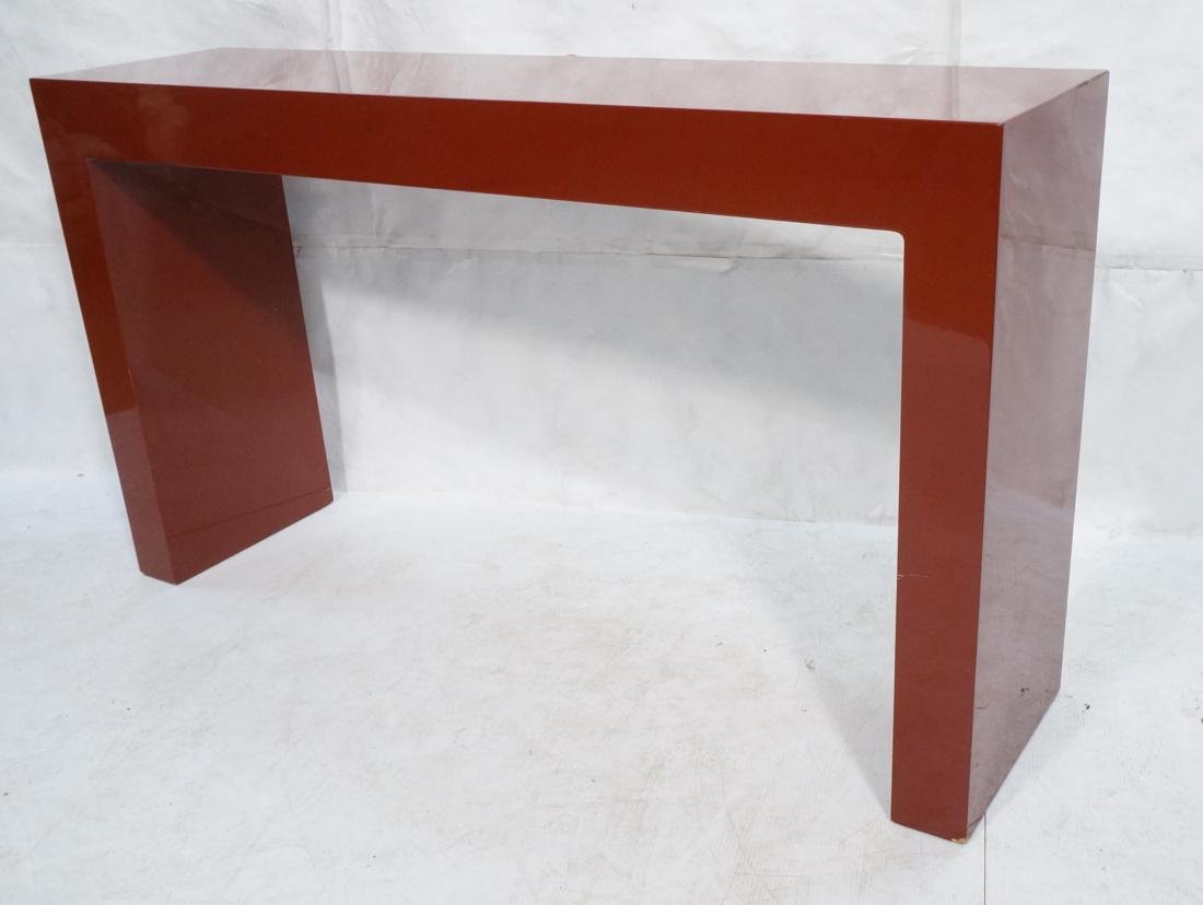 Large Burgundy Lacquered Hall Table Parson Style.