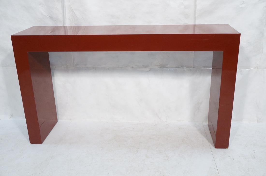 Large Burgundy Lacquered Hall Table Parson Style. - 2