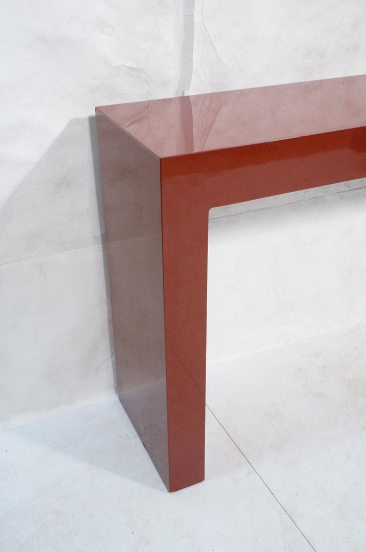 Large Burgundy Lacquered Hall Table Parson Style. - 3