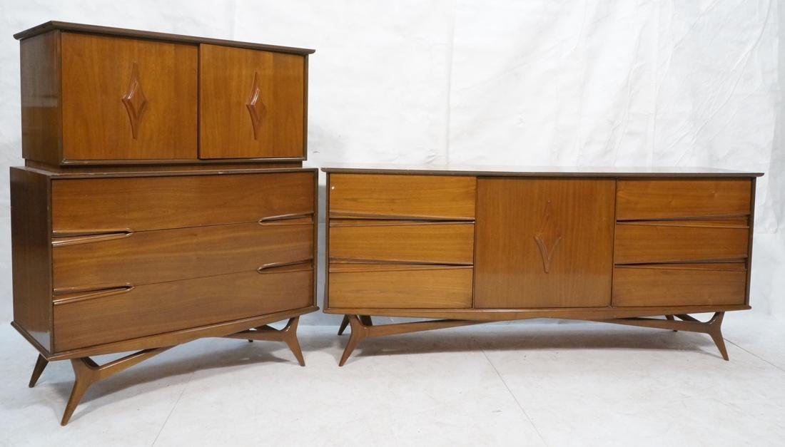 2 Pc AMERICAN MODERN Credenza and High Chest. Scu
