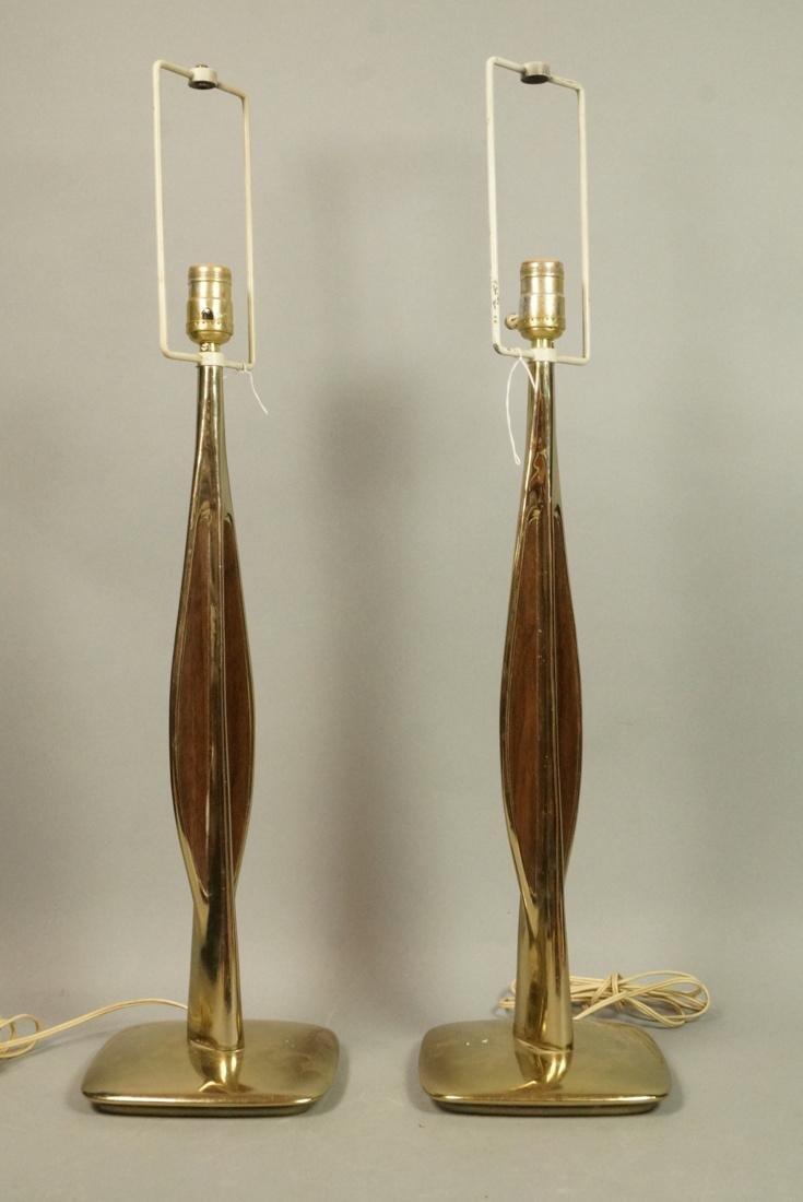 Pr LAUREL Brass Tone Wood Grain Table Lamps. Padd
