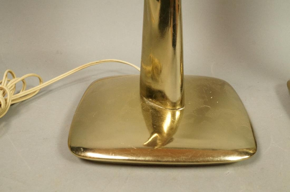 Pr LAUREL Brass Tone Wood Grain Table Lamps. Padd - 2