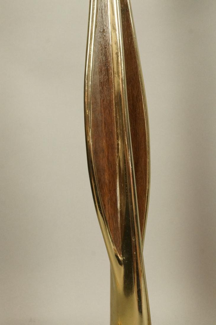 Pr LAUREL Brass Tone Wood Grain Table Lamps. Padd - 3