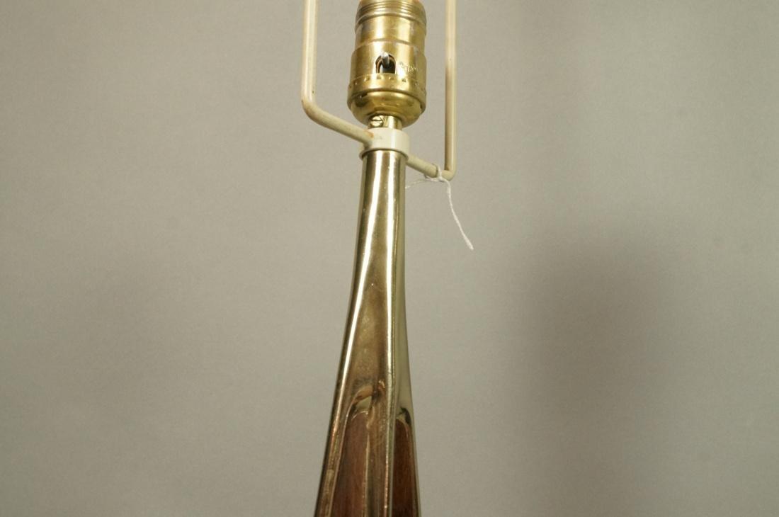 Pr LAUREL Brass Tone Wood Grain Table Lamps. Padd - 4