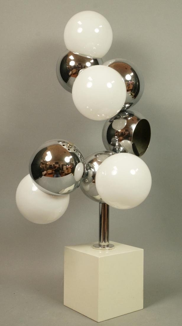 70's Modern Table Lamp. Five ball glass bulbs wit