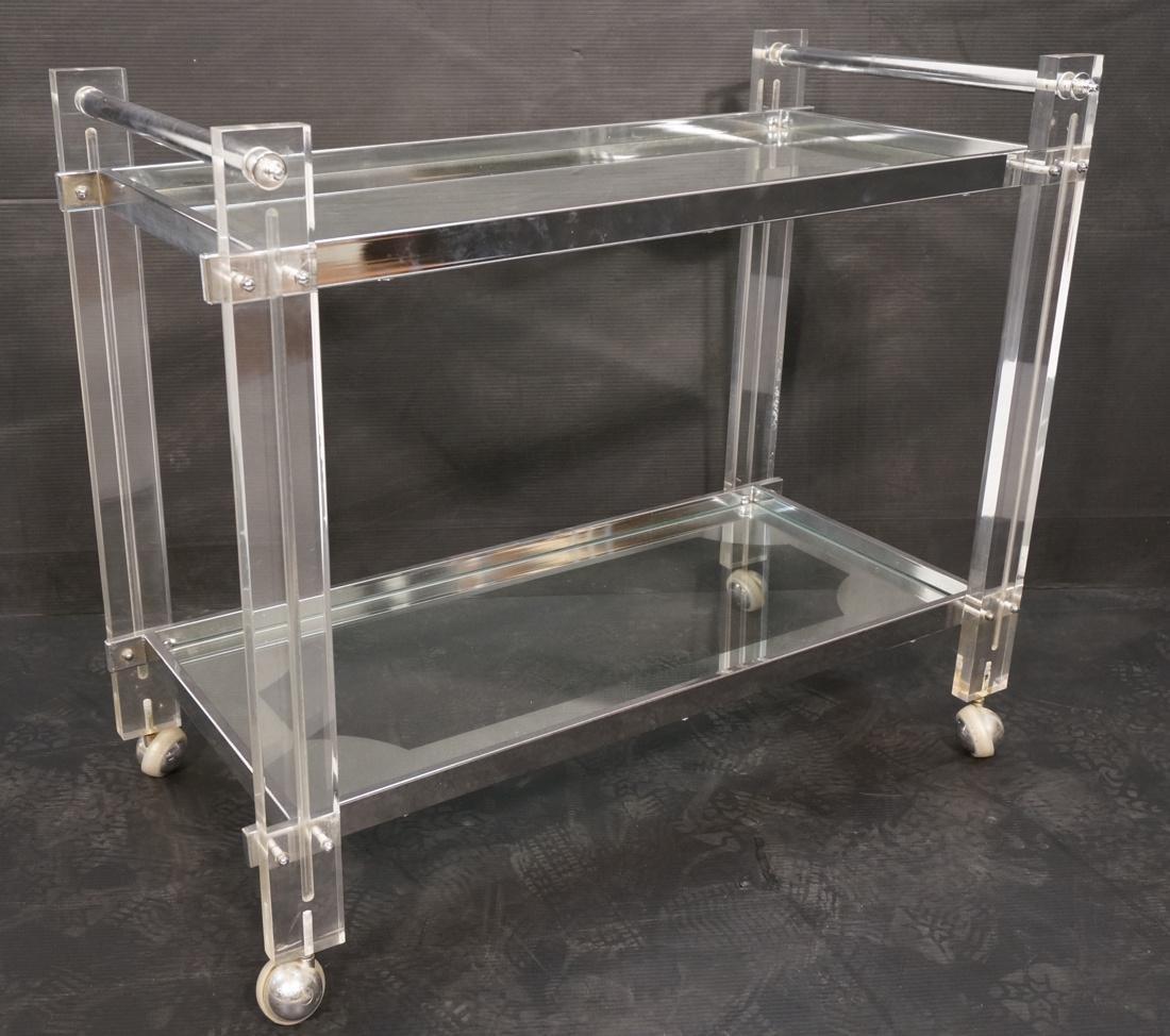 Lucite Chromed 2 Tier Rolling Bar Cart. Modern ca
