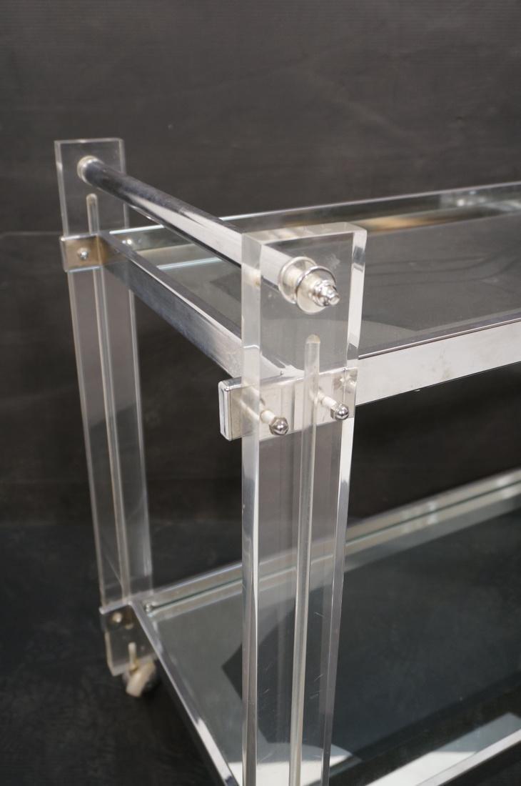 Lucite Chromed 2 Tier Rolling Bar Cart. Modern ca - 2