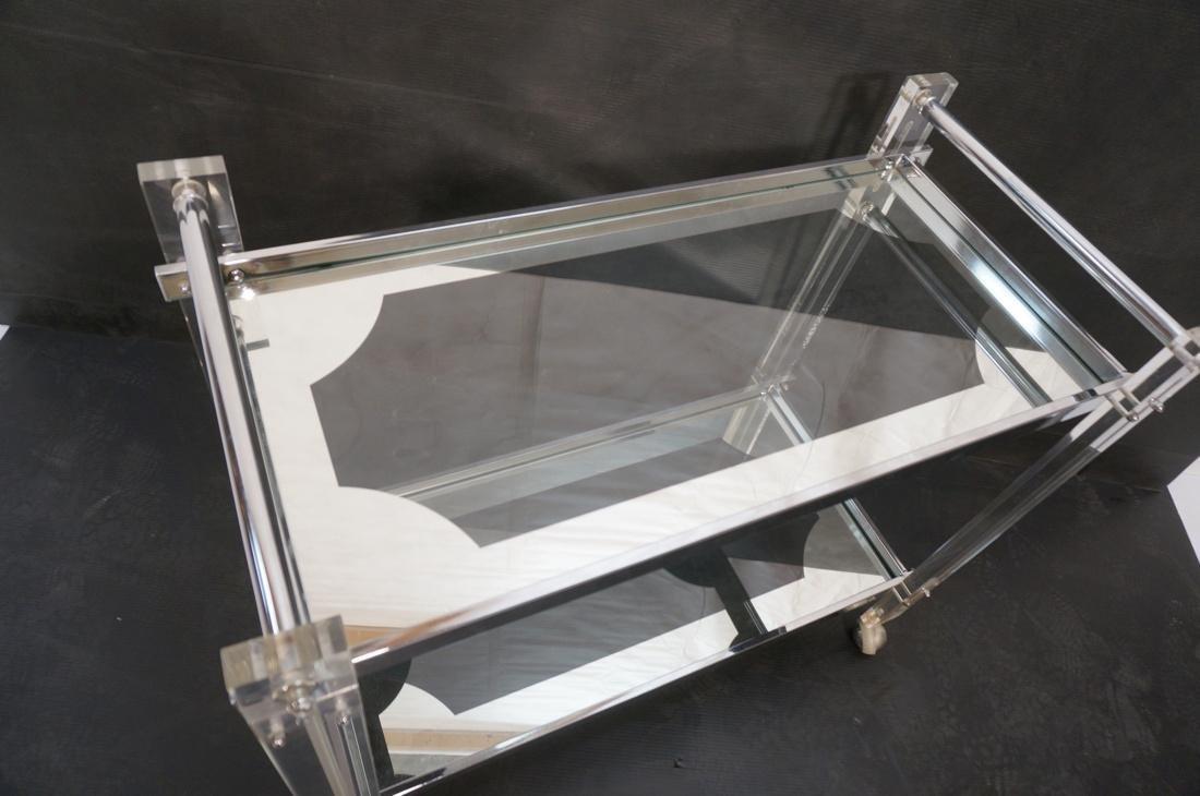 Lucite Chromed 2 Tier Rolling Bar Cart. Modern ca - 4
