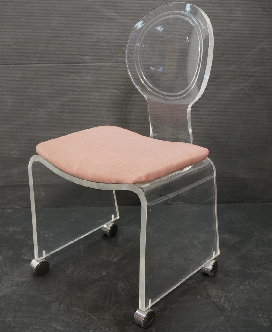 HILL Molded Lucite Vanity Seat Chair Bench. Mauve