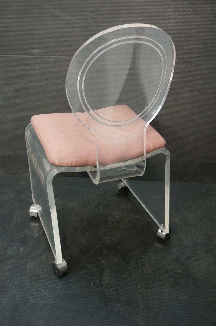 HILL Molded Lucite Vanity Seat Chair Bench. Mauve - 4