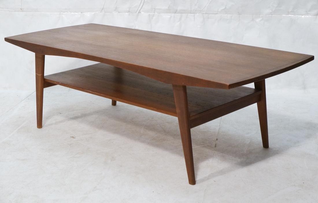 Danish Teak Modern Coffee Cocktail Table. Angled