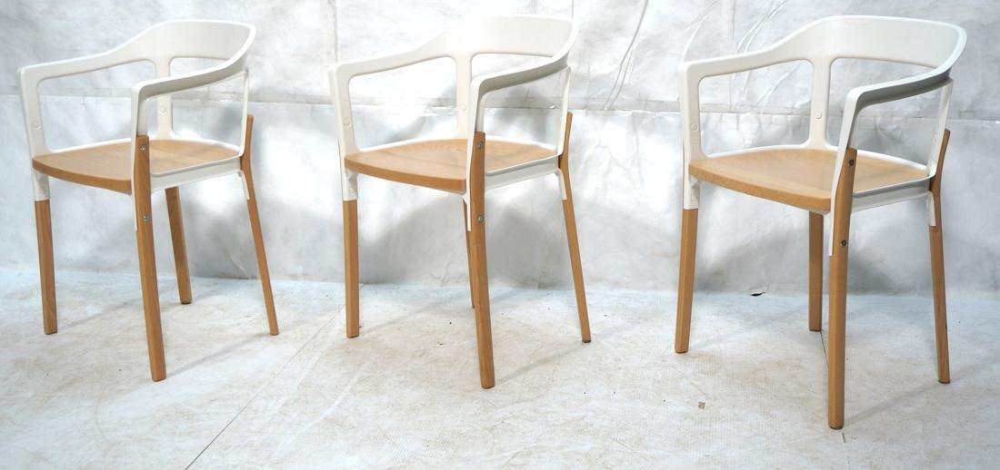 Set of 3 MAGIS Italian Steelwood Chairs. Modern C