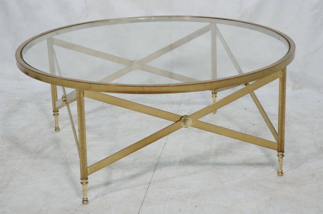 Decorator Brass Glass Round Coffee Table. Regency