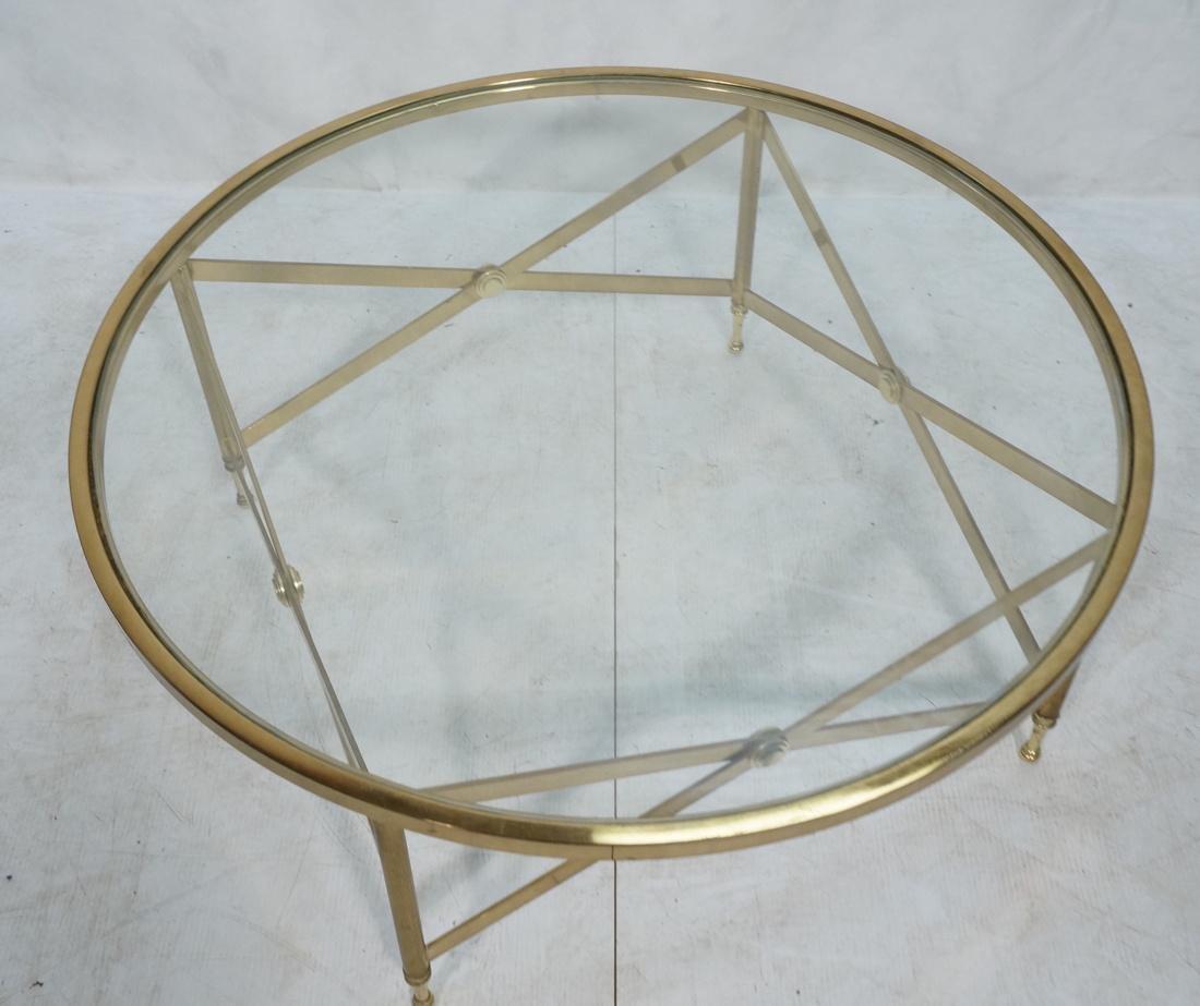 Decorator Brass Glass Round Coffee Table. Regency - 5