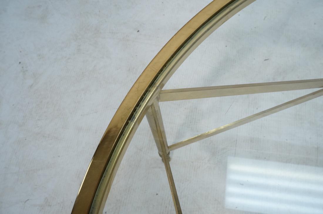 Decorator Brass Glass Round Coffee Table. Regency - 6