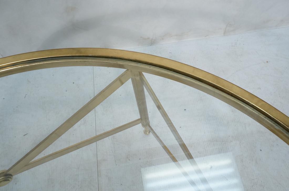 Decorator Brass Glass Round Coffee Table. Regency - 7