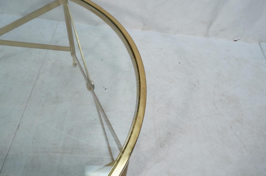 Decorator Brass Glass Round Coffee Table. Regency - 8