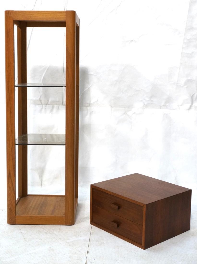 2 Pc Modern Lot Pedestal and Jewelry Box. Tall Da