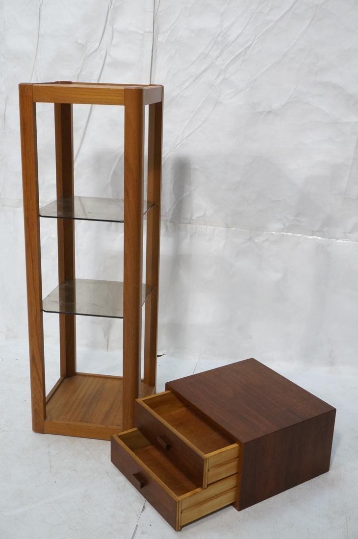 2 Pc Modern Lot Pedestal and Jewelry Box. Tall Da - 2