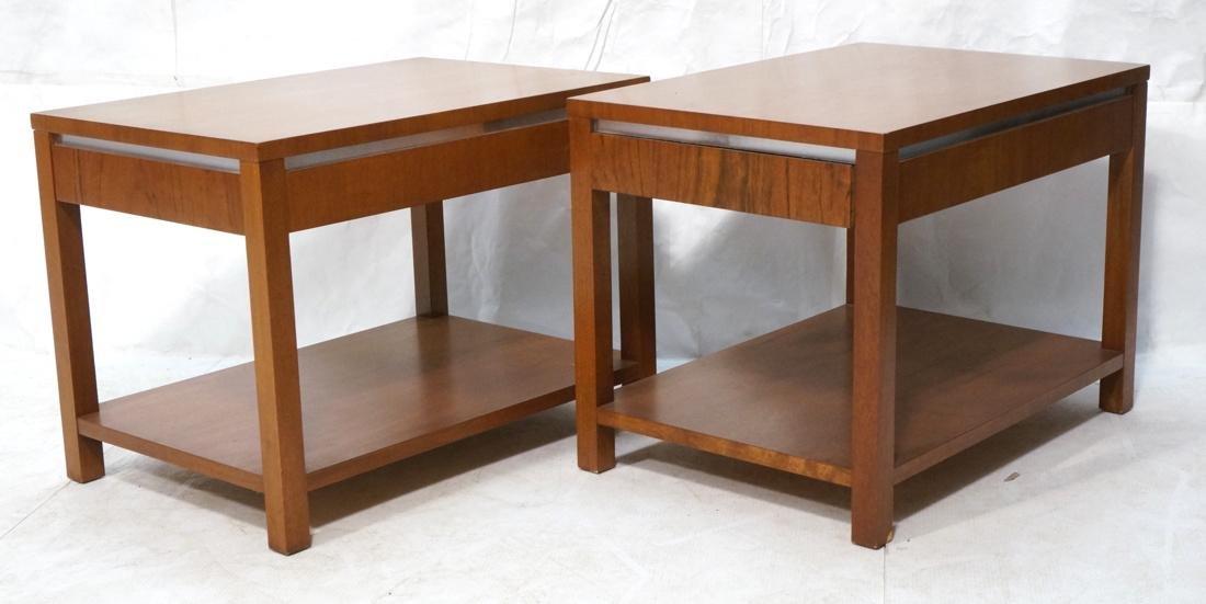 Pr FOUNDERS Walnut Modern 1 Drawer End Tables. Ro