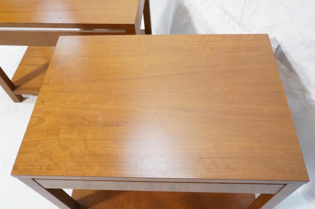 Pr FOUNDERS Walnut Modern 1 Drawer End Tables. Ro - 4