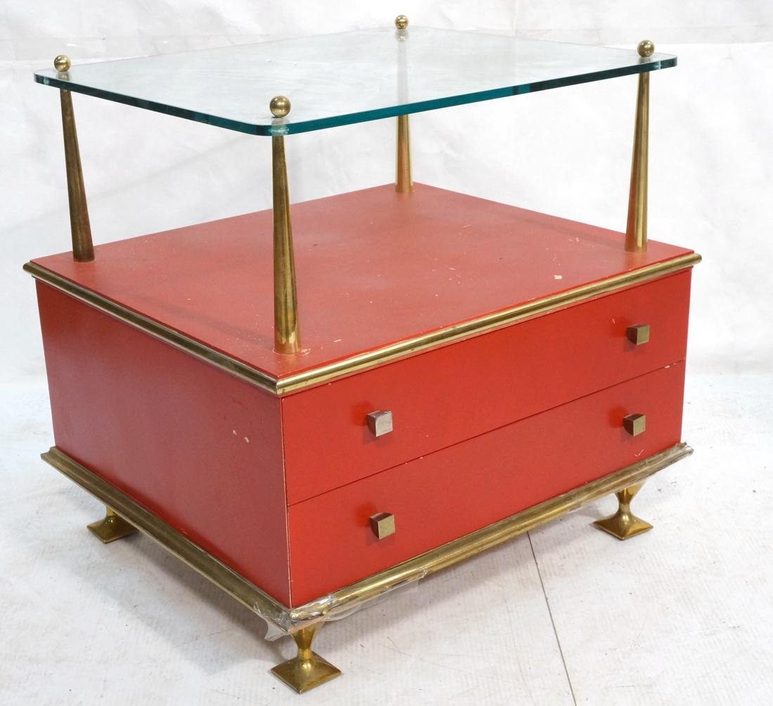 Decorator Red & Brass 2 Drawer Side Table. Thick