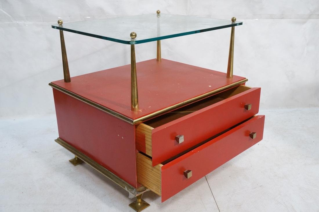 Decorator Red & Brass 2 Drawer Side Table. Thick - 2