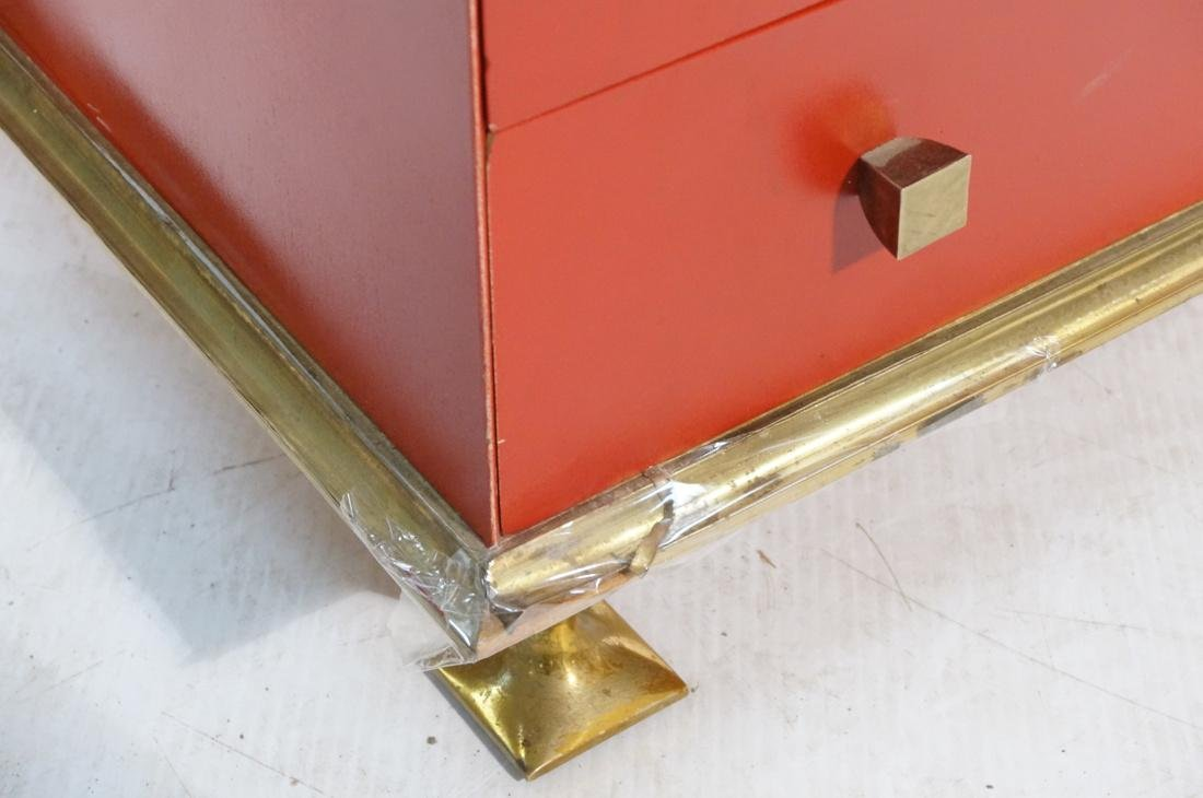 Decorator Red & Brass 2 Drawer Side Table. Thick - 5