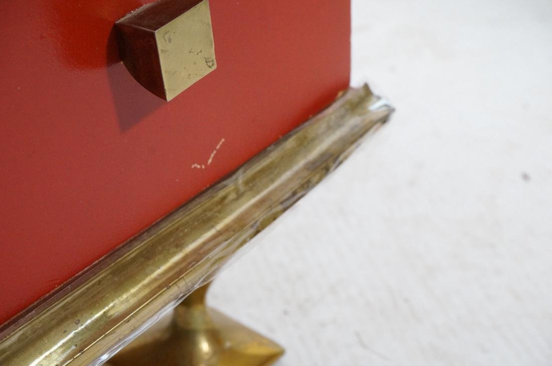 Decorator Red & Brass 2 Drawer Side Table. Thick - 6