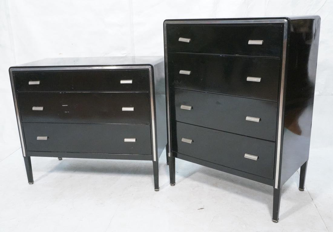 2pc SIMMONS Modernist Metal Dressers. ART DECO. F