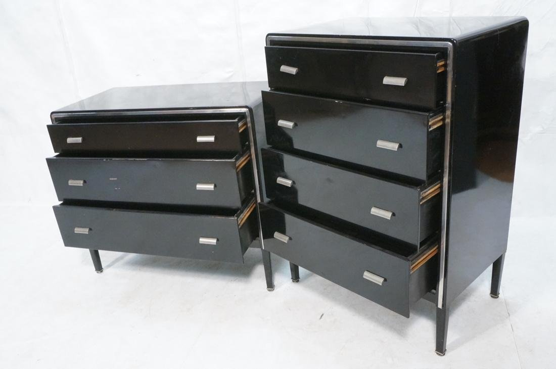 2pc SIMMONS Modernist Metal Dressers. ART DECO. F - 2