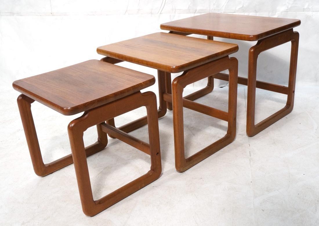 Set 3 Danish Teak Nesting Tables. Open frame leg