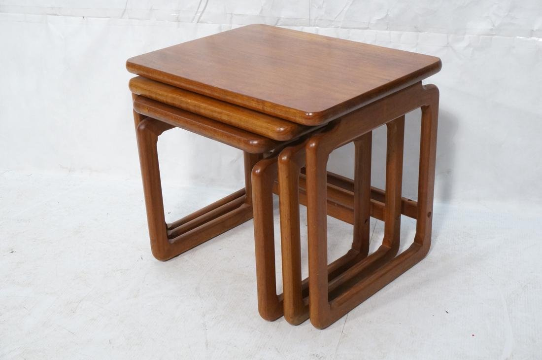 Set 3 Danish Teak Nesting Tables. Open frame leg - 8