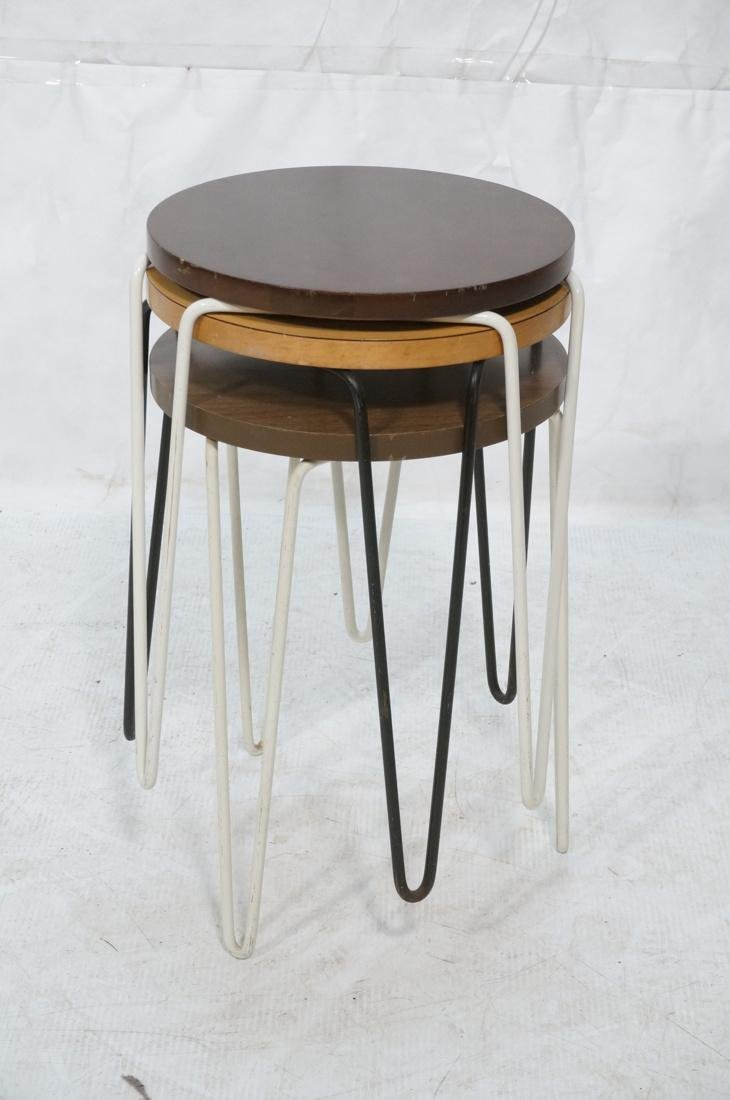 Set 3 Knoll Stacking Nesting Tables Stools. Round - 8