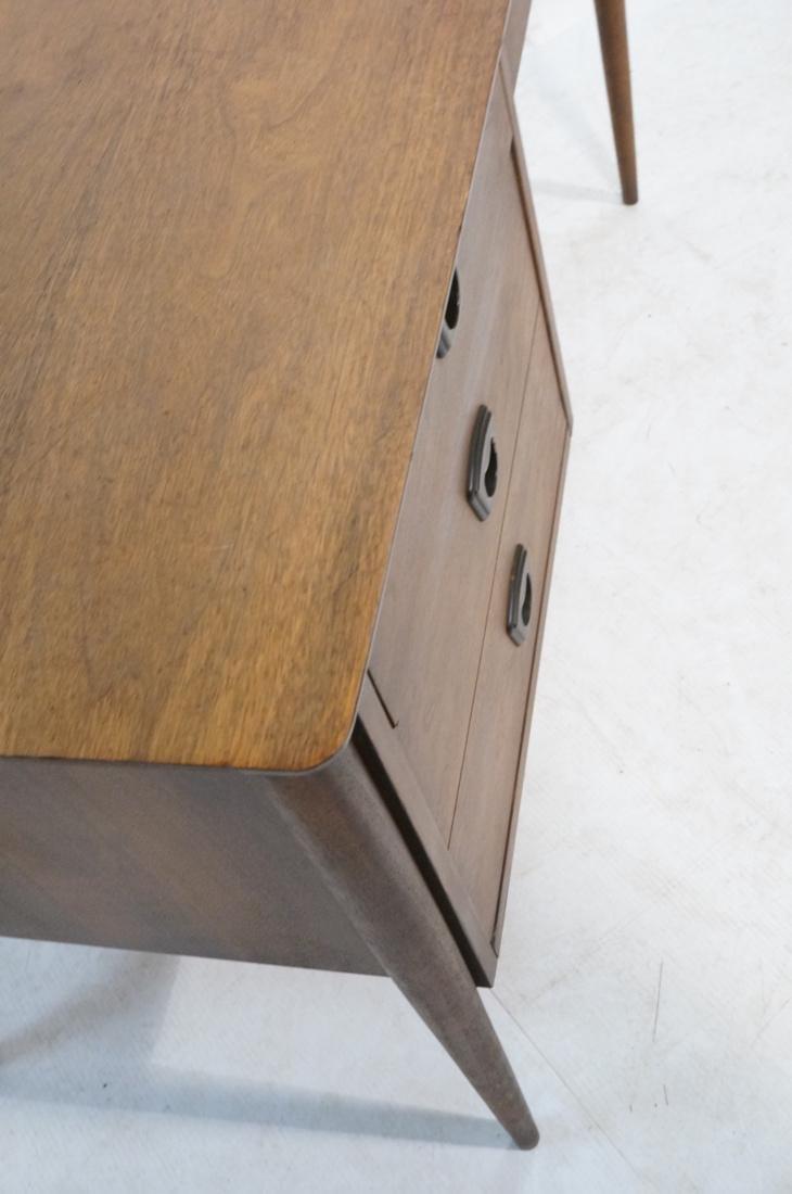 American Modern Walnut Desk. Tapered peg legs. Sl - 5