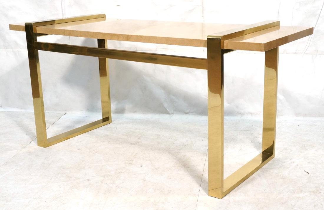 KARL SPRINGER Style Lacquer Brass Console Table.