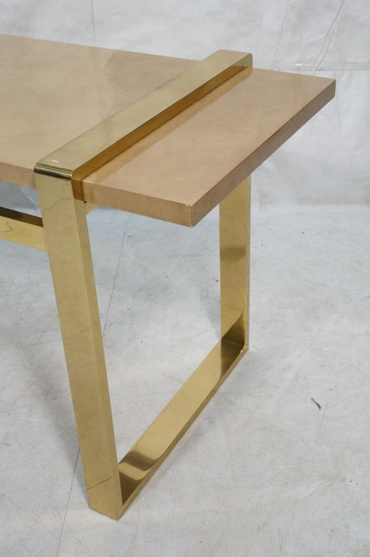 KARL SPRINGER Style Lacquer Brass Console Table. - 2