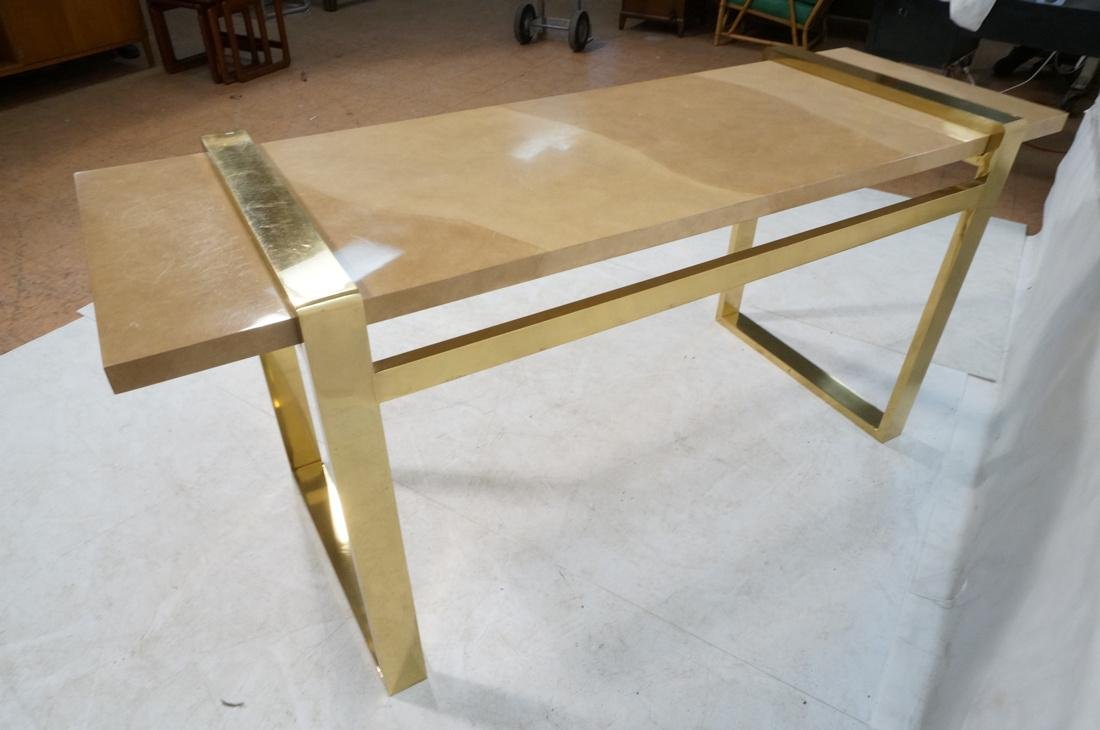 KARL SPRINGER Style Lacquer Brass Console Table. - 7