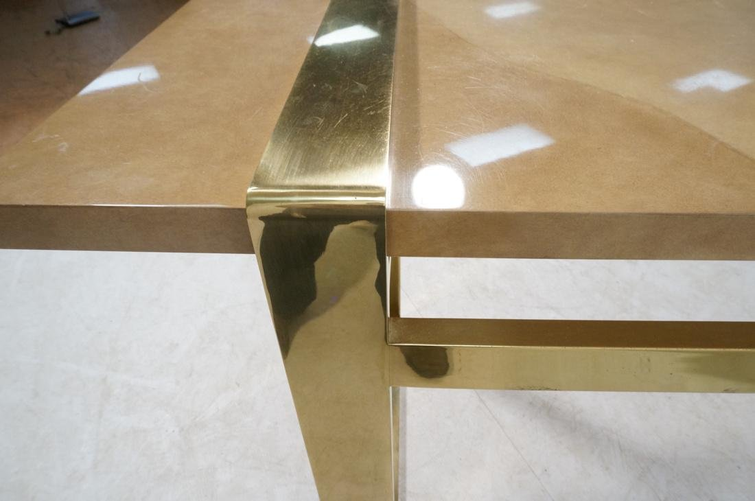 KARL SPRINGER Style Lacquer Brass Console Table. - 8