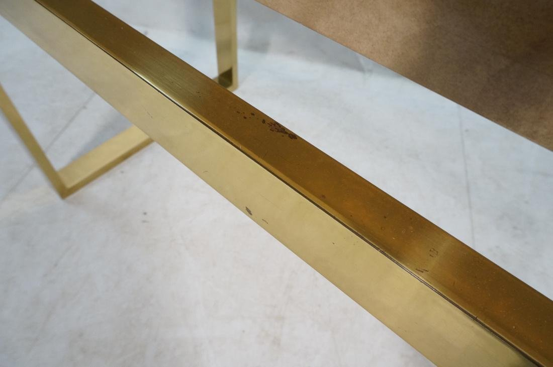 KARL SPRINGER Style Lacquer Brass Console Table. - 9