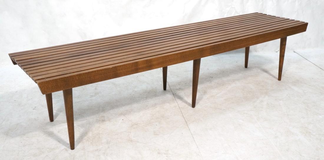 GEORGE NELSON Style Modern Walnut Slat Bench. Cof