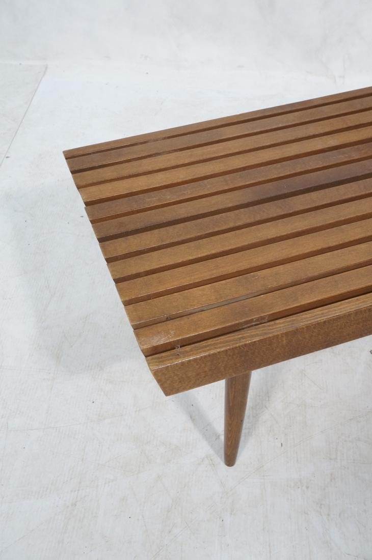 GEORGE NELSON Style Modern Walnut Slat Bench. Cof - 2
