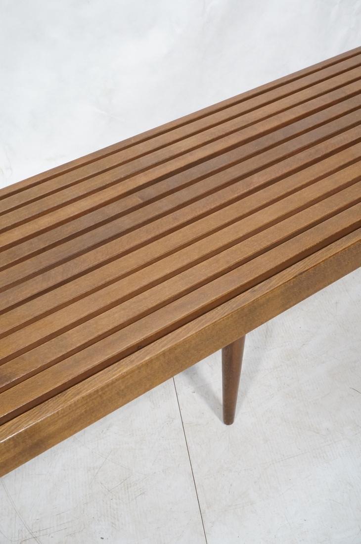 GEORGE NELSON Style Modern Walnut Slat Bench. Cof - 3