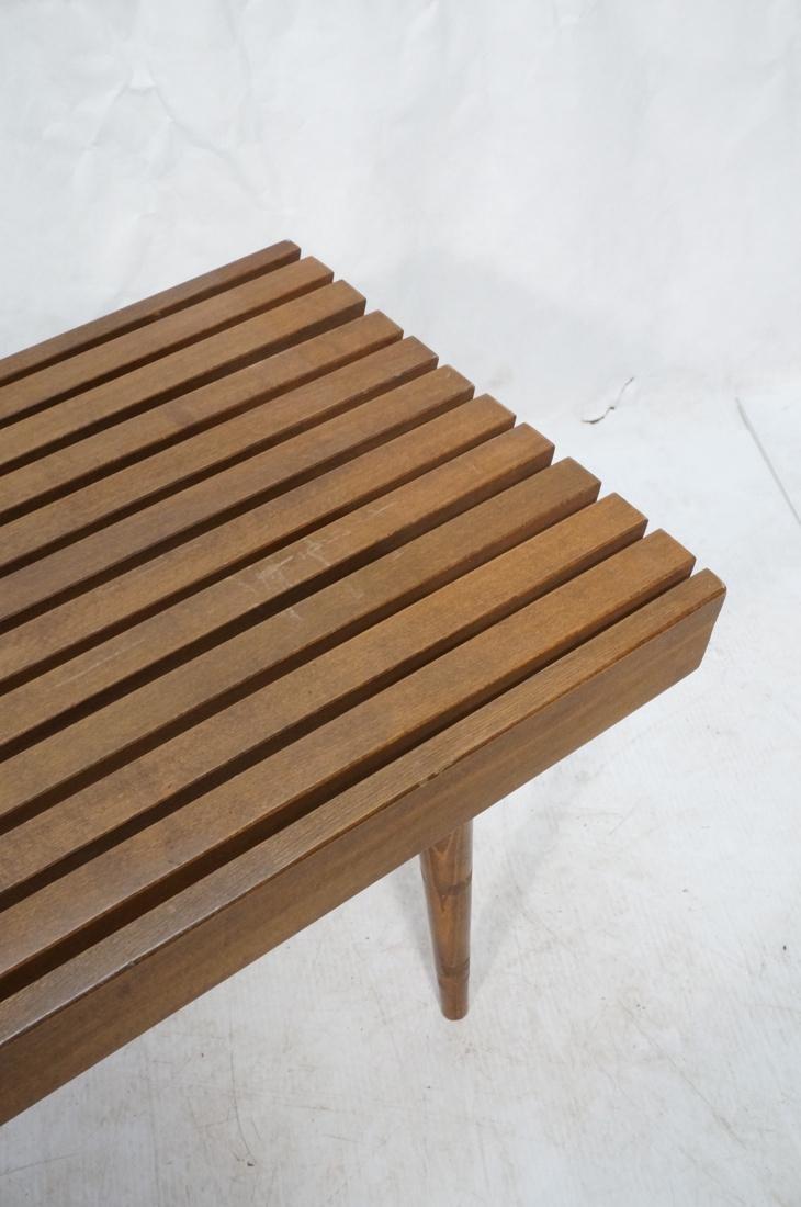 GEORGE NELSON Style Modern Walnut Slat Bench. Cof - 4